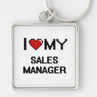 I love my Sales Manager Silver-Colored Square Keychain