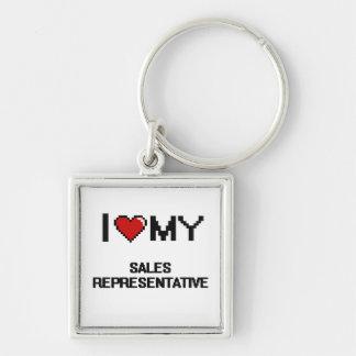 I love my Sales Representative Silver-Colored Square Keychain