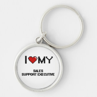 I love my Sales Support Executive Silver-Colored Round Keychain