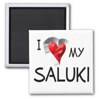 I Love My Saluki Square Magnet