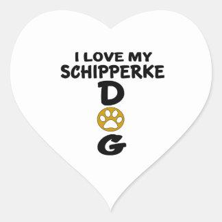 I Love My Schipperke Dog Designs Heart Sticker