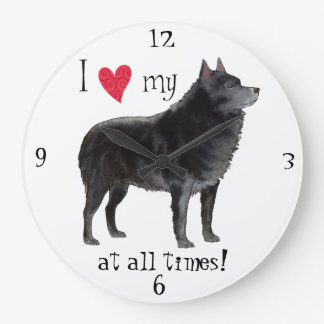 I Love my Schipperke Large Clock