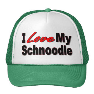 I Love My Schnoodle Dog Gifts and Apparel Mesh Hat