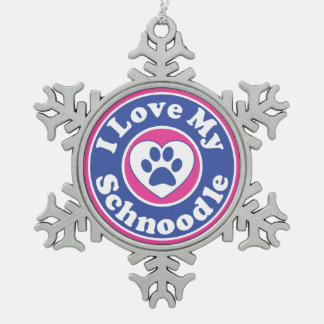 I Love My Schnoodle Dog Puppy Puppies Snowflake Pewter Christmas Ornament