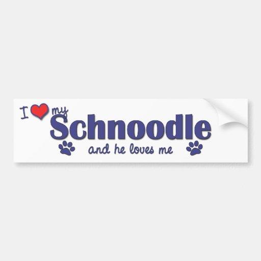 I Love My Schnoodle (Male Dog) Bumper Stickers