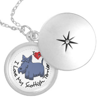 I Love My Scottish Terrier Dog Silver Plated Necklace