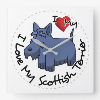 I Love My Scottish Terrier Dog Square Wall Clock