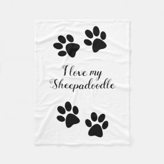 I love my sheepadoodle fleece blanket