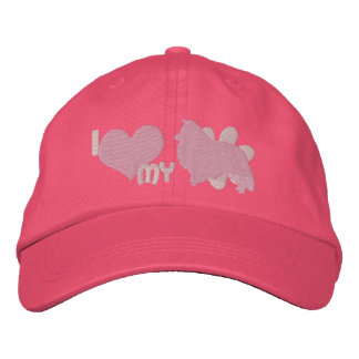 I Love my Sheltie Pink Embroidered Hat