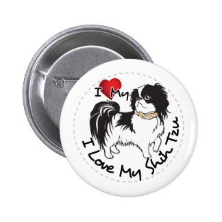 I Love My Shih Tzu Dog 6 Cm Round Badge