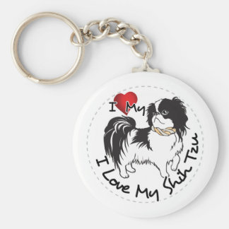 I Love My Shih Tzu Dog Basic Round Button Key Ring