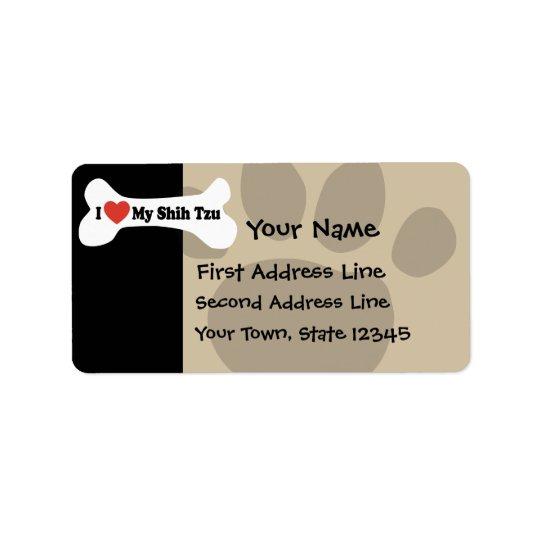 I Love My Shih Tzu - Dog Bone Address Label
