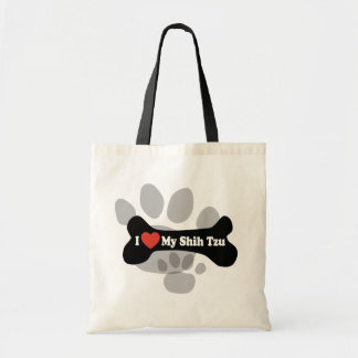 I Love My Shih Tzu - Dog Bone Tote Bag