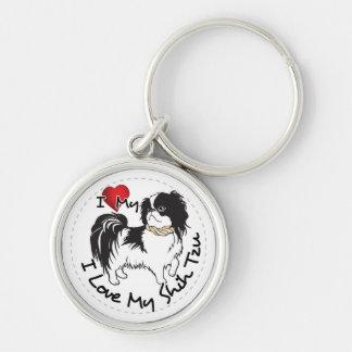 I Love My Shih Tzu Dog Silver-Colored Round Key Ring