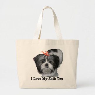 I Love My Shih Tzu Large Tote Bag