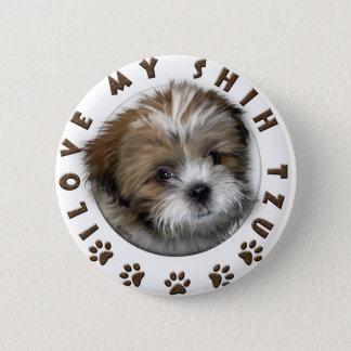 I Love My Shih Tzu Tender Pet Design 6 Cm Round Badge