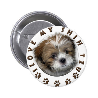 I Love My Shih Tzu Tender Pet Design 6 Cm Round Badge