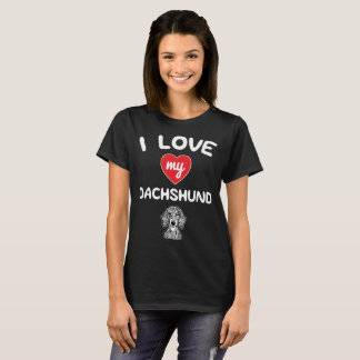 I love my Shorthaired Dachshund Face Graphic Art T-Shirt