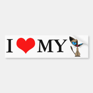 I Love My Siamese Cat Bumper Sticker