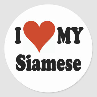I Love My Siamese Cat Merchandise Classic Round Sticker