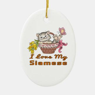 I Love My Siamese Ceramic Ornament