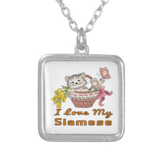 I Love My Siamese Silver Plated Necklace