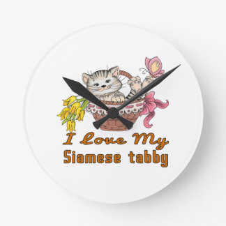 I Love My Siamese tabby Clocks