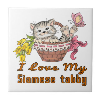 I Love My Siamese tabby Small Square Tile