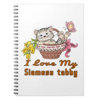 I Love My Siamese tabby Spiral Notebook