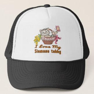 I Love My Siamese tabby Trucker Hat