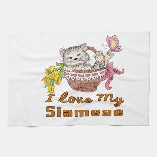 I Love My Siamese Tea Towel