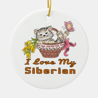 I Love My Siberian Ceramic Ornament