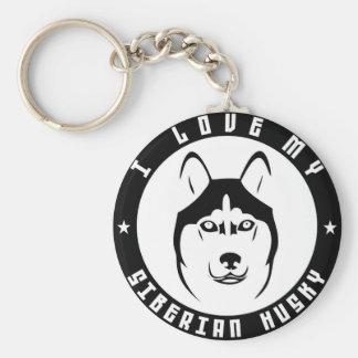 I LOVE MY SIBERIAN HUSKY Dog breed pet Key Ring