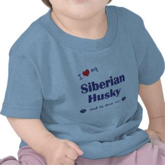 I Love My Siberian Husky Male Dog T Shirts
