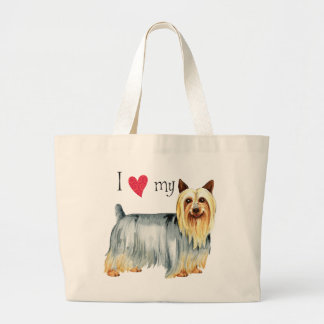 I Love my Silky Terrier Large Tote Bag