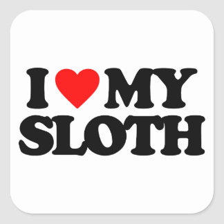 I LOVE MY SLOTH SQUARE STICKERS