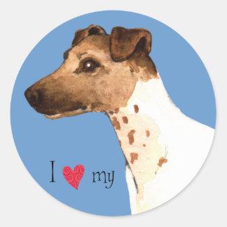 I Love my Smooth Fox Terrier Round Sticker