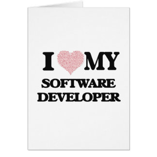 I love my Software Developer (Heart Made from Word Greeting Card