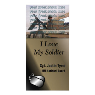 I Love My Soldier Custom Photo Military Photo Card Template