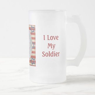 I Love My Soldier Custom Photo Personalized Frosted Glass Beer Mug