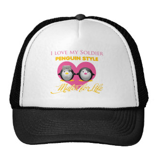 I Love My Soldier Penguin Style Mesh Hat
