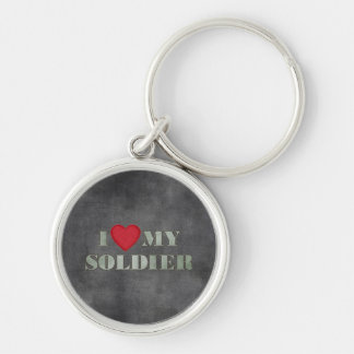 I love my soldier Silver-Colored round key ring