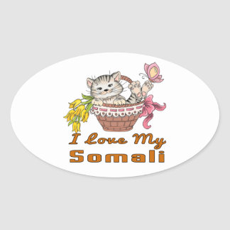 I Love My Somali Oval Sticker