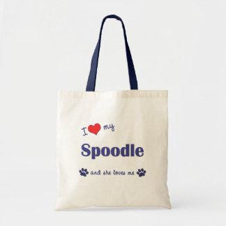 I Love My Spoodle (Female Dog) Budget Tote Bag