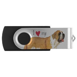 I Love my St. Bernard Swivel USB 3.0 Flash Drive
