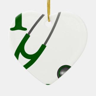 I Love My Stethoscope - Green Ceramic Ornament