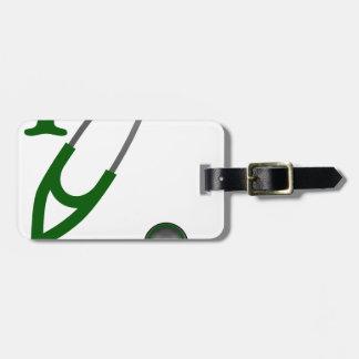 I Love My Stethoscope - Green Luggage Tag