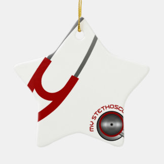 I Love My Stethoscope - Red Ceramic Ornament