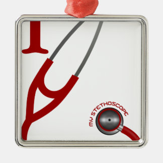 I Love My Stethoscope - Red Metal Ornament