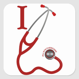 I Love My Stethoscope - Red Square Sticker